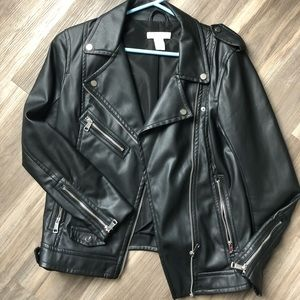 H&M faux vegan leather jacket 2 or Small NWOT